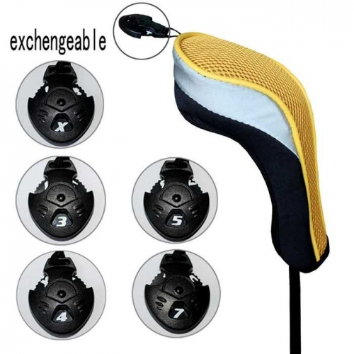 Andux Golf Hybrid Club Head Covers Interchangeable No.Tag MT/hy2 Black/yellow