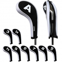 Golf Iron Head Covers with Zipper Long Neck 10pcs/set Black/white Mt/w08