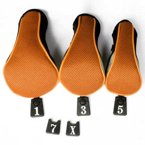 Andux Golf Driver Wood Head Covers Interchangeable No.Tag 3 of Set Mt/mg06 Orange
