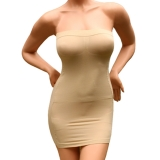 Sexy Slimming Tube Top Stretch Strapless Slip Mini Dress SS-W03 Beige