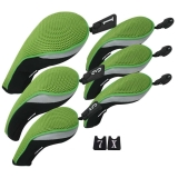 Andux Golf Club Head Cover Set Interchangeable No. Tag (3 Hybrid Cover+3 Wood Cover) MT/ZH05 Green