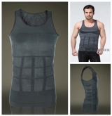 ZEROBODYS Men's Shaper Slimming Undershirt T-shirt Elastic Body Sculpting Vest SS-M01 Grey