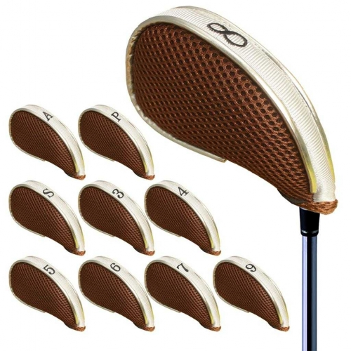 Andux Mesh Golf Iron Head Covers with Zipper Left and Right Handed 10pcs/set MT/YB003 Coffee/white