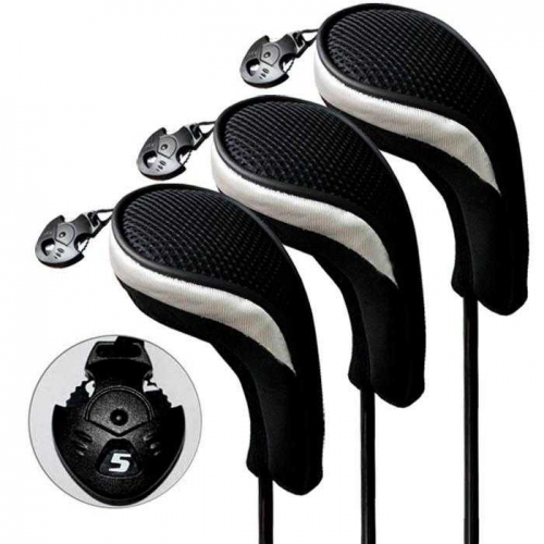 Andux Golf Hybrid Club Head Covers Interchangeable No.Tag MT/hy06 Black/silver