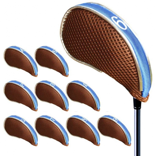 Andux Mesh Golf Iron Head Covers with Zipper Left and Right Handed 10pcs/set MT/YB002 Coffee/blue