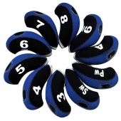 10pcs/set neoprene Golf club iron head Covers cover blk/blue MT/S07