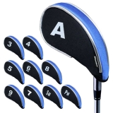 Andux New Design Golf Iron Head Covers with Zipper 10pcs/set MT/YB01 Black/blue