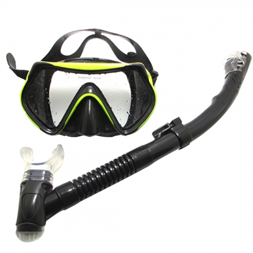 Andux Adult Professional Freediving / spearfishing / Scuba / diving Silicone Mask and Dry Snorkel Set QS-J01