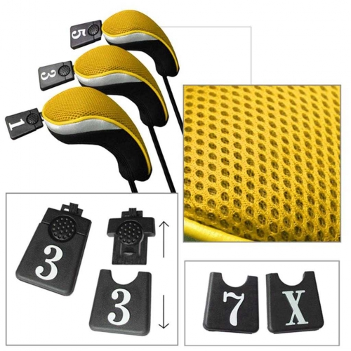 Andux Golf Driver Wood Head Covers Interchangeable No.Tag 3 of Set Mt/mg07 Yellow