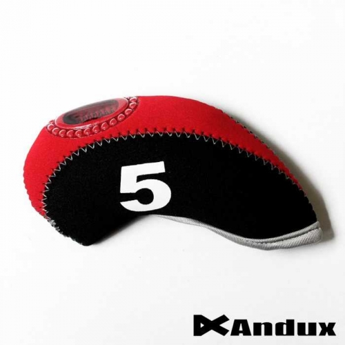 10pcs/set neoprene Golf club iron head Covers cover black/red MT/S08