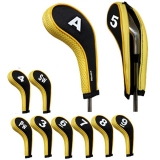 Golf Iron Head Covers with Zipper Long Neck 10pcs/set Black/yellow Mt/w06