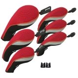 Andux Golf Club Head Cover Set Interchangeable No. Tag (3 Hybrid Cover+3 Wood Cover) MT/ZH01 Red