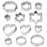 Andux Land 12 Piece Stainless Star Heart Flower Cookie Fruit Cutter Sporting Shape Biscuit Mold BGMJ-02