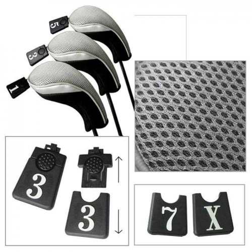 Andux Golf Driver Wood Head Covers Interchangeable No.Tag 3 of Set Mt/mg03 Grey
