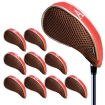 Andux Mesh Golf Iron Head Covers with Zipper Left and Right Handed 10pcs/set MT/YB001 Coffee/red