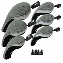 Andux Golf Club Head Cover Set Interchangeable No. Tag (3 Hybrid Cover+3 Wood Cover) MT/ZH02 Grey
