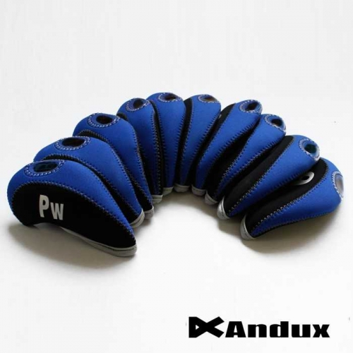 10pcs/set neoprene Golf club iron head Covers cover black/blue MT/S07