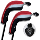 Andux Golf Hybrid Club Head Covers Interchangeable No.Tag MT/hy01 Black/Red