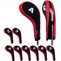 Golf Iron Head Covers with Zipper Long Neck 10pcs/set Black/red Mt/w05
