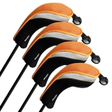 Andux Golf Hybrid Club Head Covers Interchangeable No.Tag MT/hy07 Black/Orange