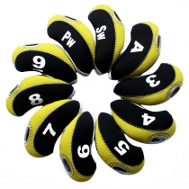 10pcs/set neoprene Golf club iron head Covers cover blk/yellow MT/S11