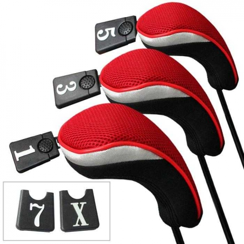 Andux Golf Driver Wood Head Covers Interchangeable No.Tag 3 of Set Mt/mg01 Red