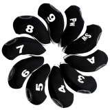10pcs/set neoprene Golf club iron head Covers cover black MT/S06