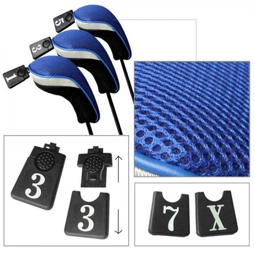 Andux Golf Driver Wood Head Covers Interchangeable No.Tag 3 of Set Mt/mg02 Blue