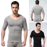 ZEROBODYS Mens Comfortable Body Shaper Compression Short Sleeve V-neck T-shirt SS-M03 Grey