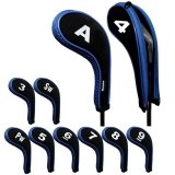 Golf Iron Head Covers with Zipper Long Neck 10pcs/set Black/blue Mt/w07