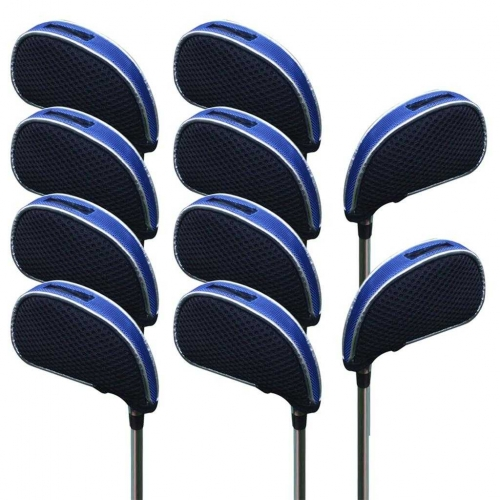 Andux Mesh Golf Iron Head Covers with window 10pcs/set 01-YBMT-001-02 Black/blue