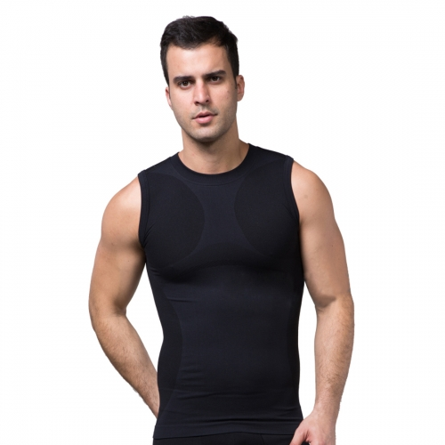 ZEROBODYS Men\'s Comfortable Moisture-wicking Body Shaper Sporting Vest Cool-dry SS-M05 Black