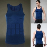 ZEROBODYS Men's Shaper Slimming Undershirt T-shirt Elastic Body Sculpting Vest SS-M01 Blue