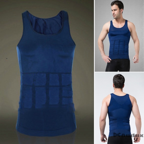 ZEROBODYS Men\'s Shaper Slimming Undershirt T-shirt Elastic Body Sculpting Vest SS-M01 Blue