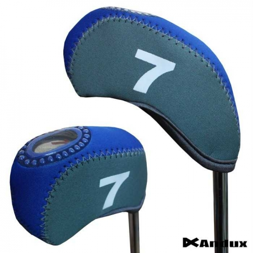 10pcs/set neoprene Golf club iron head Covers cover blue/grey MT/S09