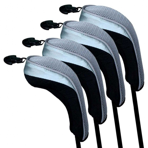 Andux Golf Hybrid Club Head Covers Interchangeable No.Tag MT/hy03 Black/ Grey