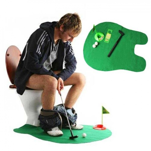 Andux Toilet Bathroom Mini Golf Set Potty Putter Toilet Golf Game putting green