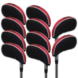 Andux Mesh Golf Iron Head Covers with window 10pcs/set 01-YBMT-001-03 Black/red