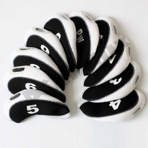 10pcs/set neoprene Golf club iron head Covers cover blk/white MT/S04