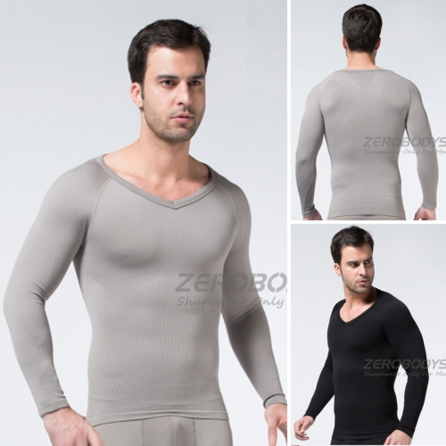ZEROBODYS Mens Comfortable Compression Body Shaper Long Sleeve V-neck Shirt SS-M04 Grey