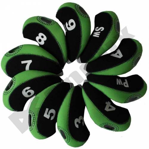 10pcs/set neoprene Golf club iron head Covers cover black/green MT/S01