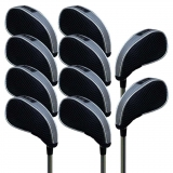 Andux Mesh Golf Iron Head Covers with Window 10pcs/Set 01-YBMT-001-01 Black & Grey