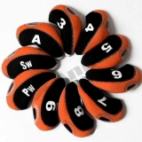10pcs/set neoprene Golf club iron head Covers cover blk/orange MT/S02