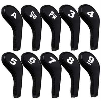 Golf Iron Head Covers with Zipper Long Neck 10pcs/set Black Mt/w09